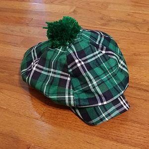 Plaid green golf cap